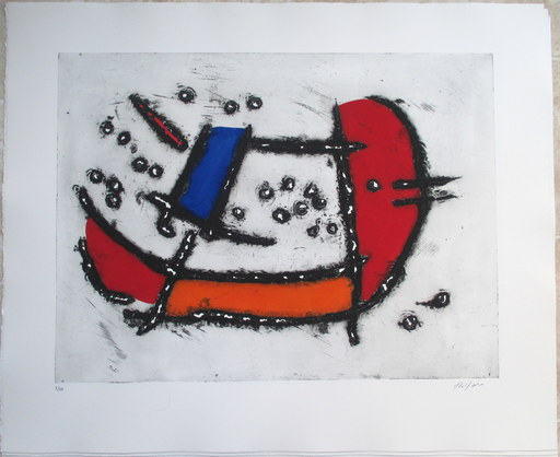 Robert JACOBSEN - Print-Multiple - La Seine I-III, 3 handcoloured etchings