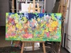 Nicole LEIDENFROST - Gemälde - Eine Gruppe von Menschen - im Freizeitpark