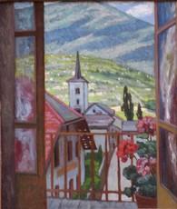 Mathilde ARBEY - Peinture - VUE DE GRAND COEUR (SAVOIE)