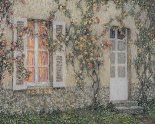 Henri LE SIDANER - Painting - La maison aux roses, Versailles