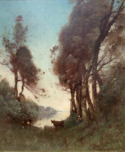 Paul Désiré TROUILLEBERT - Painting - la gardienne de vaches (lac de Nantua)