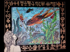 Robert COMBAS - Grabado - Dans son univers de sous-marin vert...