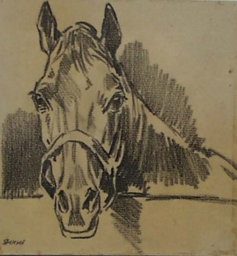 "Robert FUCHS - Drawing-Watercolor - ""Horse Study "" by Robert Fuchs, ca 1930"