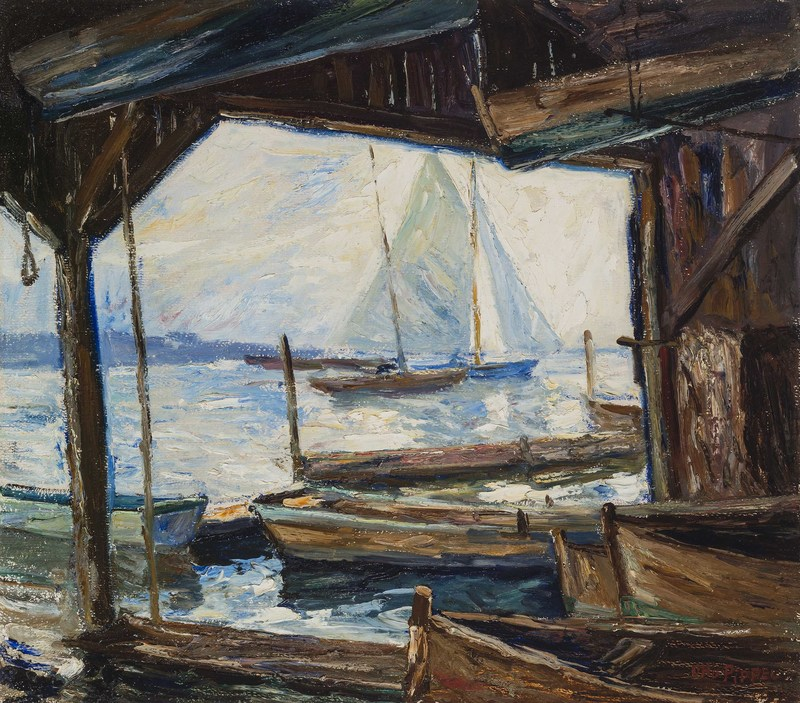 Otto PIPPEL - Painting - Bootshütte am Starnberger See