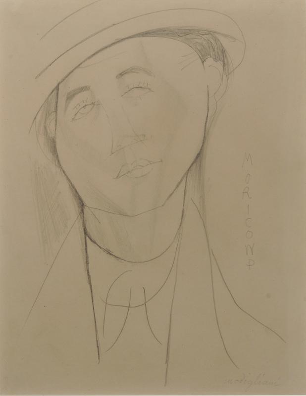 Amedeo MODIGLIANI - Dibujo Acuarela - Le portrait de Moricand