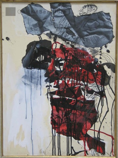 Antoni CLAVÉ - Pintura - Collage de la Senyora
