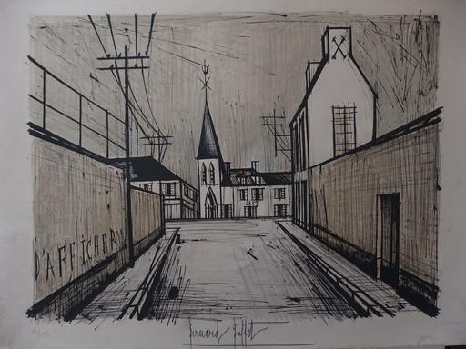 Bernard BUFFET - Grabado - Eglise de Village (1969)