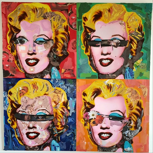 Jacob GILDOR - Painting - Homage to Warhol (Zoom Corona Marilyn)