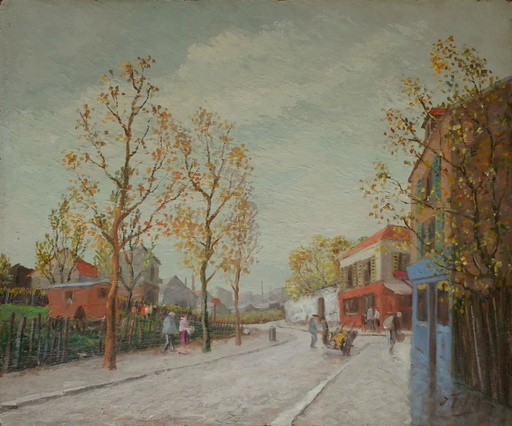 Edouard FEBVRE - Pintura - Paysage animé de banlieue