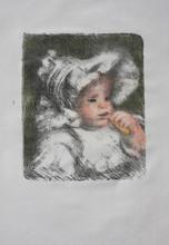 奥古斯特•雷诺阿 - 版画 - Enfant au Biscuit