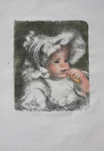 Pierre-Auguste RENOIR - Estampe-Multiple - Enfant au Biscuit