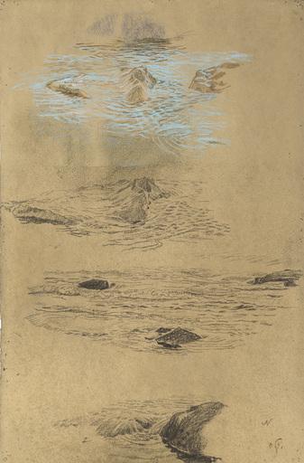 Otto GREINER - Disegno Acquarello - Meeresstudie mit Felsen in Terracina