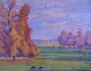 Jean PESKÉ - Zeichnung Aquarell - paysage d'automne à jean Hennery