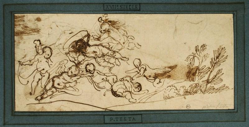 Pietro TESTA - Drawing-Watercolor - Nuée de putti dans un paysage, feuille d'études