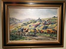 Raymonde AUBRY - Painting - Retour de vendange à Nevy-sur-Seille