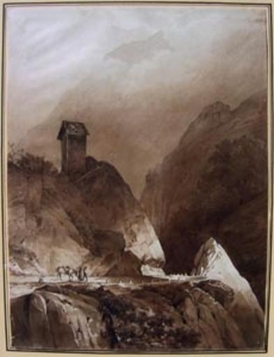 Alexandre CALAME - Dessin-Aquarelle - col alpin animé