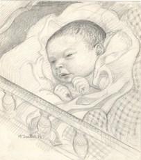 Maurice DENIS - Drawing-Watercolor - Portrait de son fils Jean-Baptiste