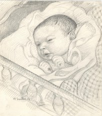 Maurice DENIS - Dibujo Acuarela - Portrait de son fils Jean-Baptiste
