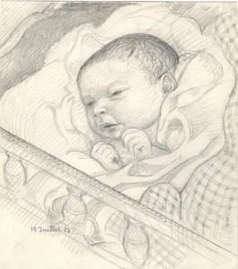 Maurice DENIS - Dessin-Aquarelle - Portrait de son fils Jean-Baptiste
