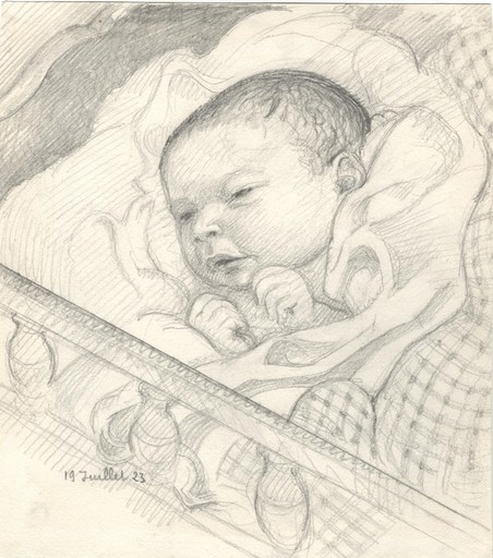 Maurice DENIS - Drawing-Watercolor - Portrait de son fils Jean-Baptiste