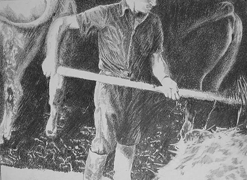 Yvon VEY - Drawing-Watercolor - Farmhand