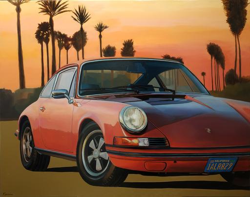 FABRIANO - Pintura - Un soir à Santa Monica - Porsche 912 1968