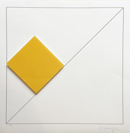 Gottfried HONEGGER - Estampe-Multiple - Composition 1 carré 3D (orange)