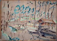 Marie Mela MUTER - Drawing-Watercolor - The Cabin by the Lake