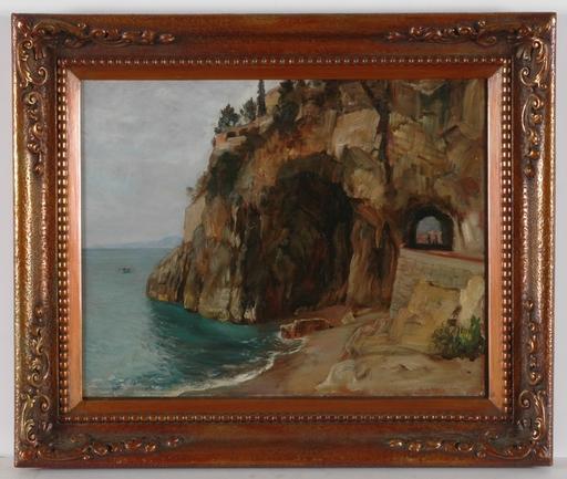 """Friedrich Albert SCHMIDT - Painting - Ligurian Coastal View"""", 1906"""