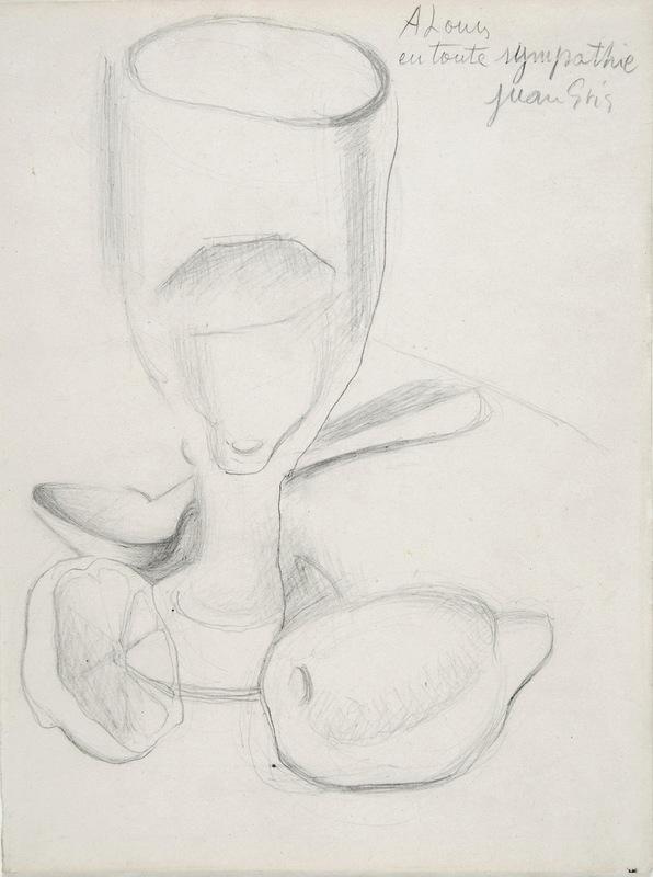 Juan GRIS - Drawing-Watercolor - Verre et Citron