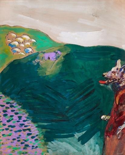 Marc CHAGALL - Drawing-Watercolor - Le Loup devenu berger (Fables de La Fontaine)