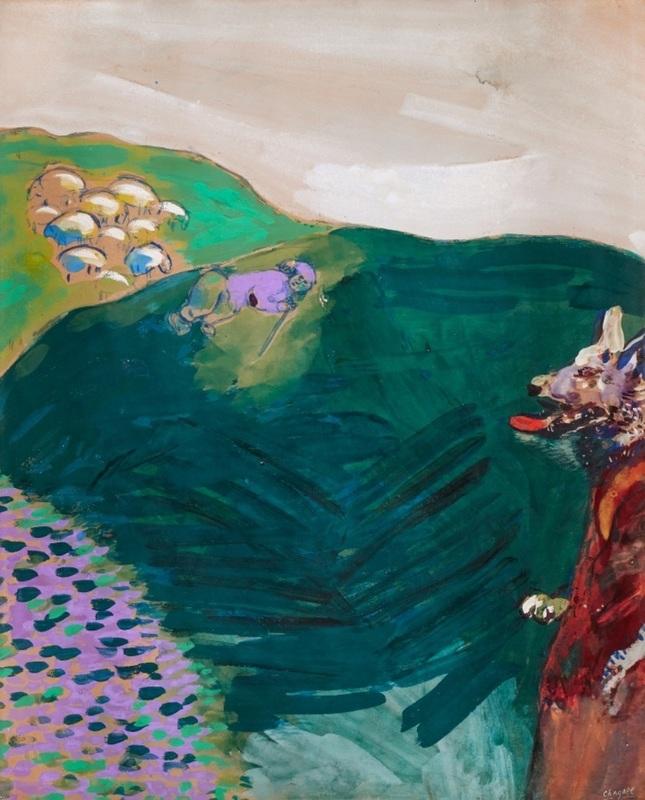 Marc CHAGALL - Dessin-Aquarelle - Le Loup devenu berger (Fables de La Fontaine)