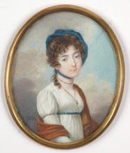 "Karl Josef Aloys AGRICOLA (Attrib.) - Miniature - ""Young Noblewoman"", high quality miniature on ivory, 1802"