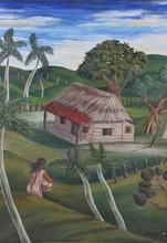 Juan CARREÑO DE MIRANDA - Painting - Landscape with woman and bohio