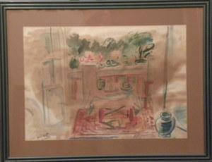 Jean VILLERI - Disegno Acquarello -  ouverture sur le balcon et le jardin