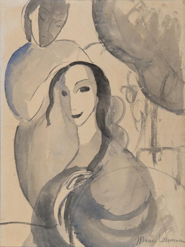 Marie LAURENCIN - Dessin-Aquarelle - Autoportrait avec une amie