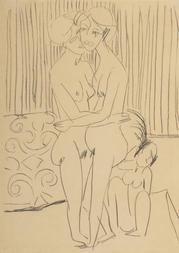 Ernst Ludwig KIRCHNER - Dessin-Aquarelle - Deux Femmes s'embrassant