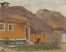 "Anton Konrad SCHMIDT - Painting - ""Austrian Peasant House"", Oil Painting, 1912"