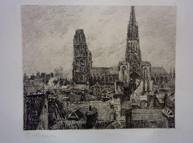Camille  PISSARRO & Georges W.  THORNLEY - Grabado - Rouen, les toits et la cathédrale