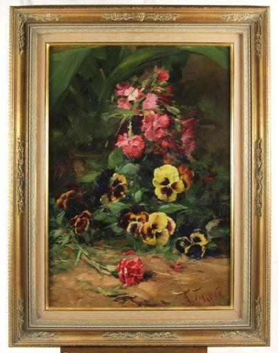 Alexandre TIELENS - Peinture - Blumen-Stillleben nature mort