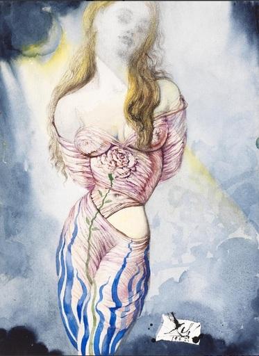 Salvador DALI - Dessin-Aquarelle - Femme à la rose