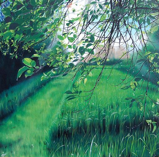 AGATE - Painting - Une allée bien tondue