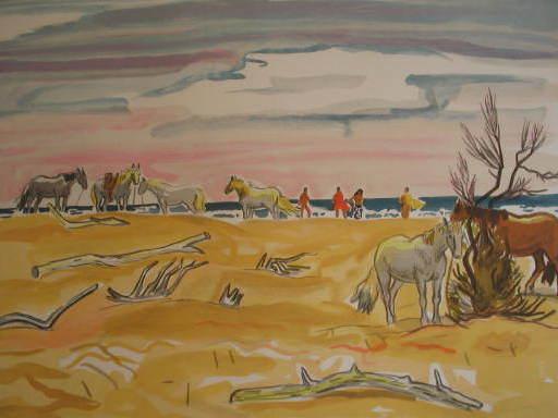 Yves BRAYER - Grabado - Bord de mer aux Saintes Maries de la mer,1976.