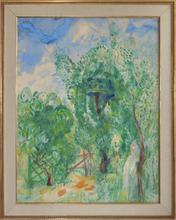 Boris Israelewitsch ANISFELD - Disegno Acquarello - Girl in a garden