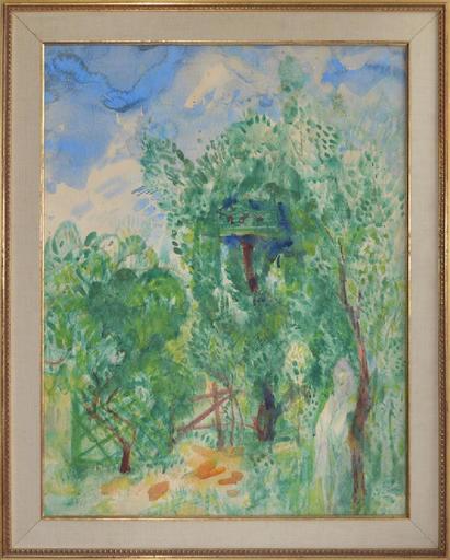 Boris Israelewitsch ANISFELD - Drawing-Watercolor - Girl in a garden