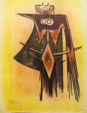 "Wifredo LAM - Print-Multiple - Demoiselle Blasonnée - From the suite ""Pleni Luna"""
