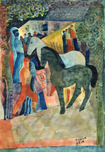 Béla KADAR - Drawing-Watercolor - Horses and Figures