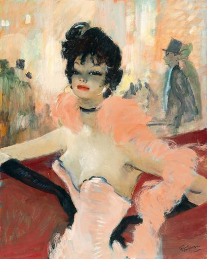 Jean Gabriel DOMERGUE - Painting - Le boa rose