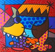 Romero BRITTO - Peinture - Romero Britto - Pig