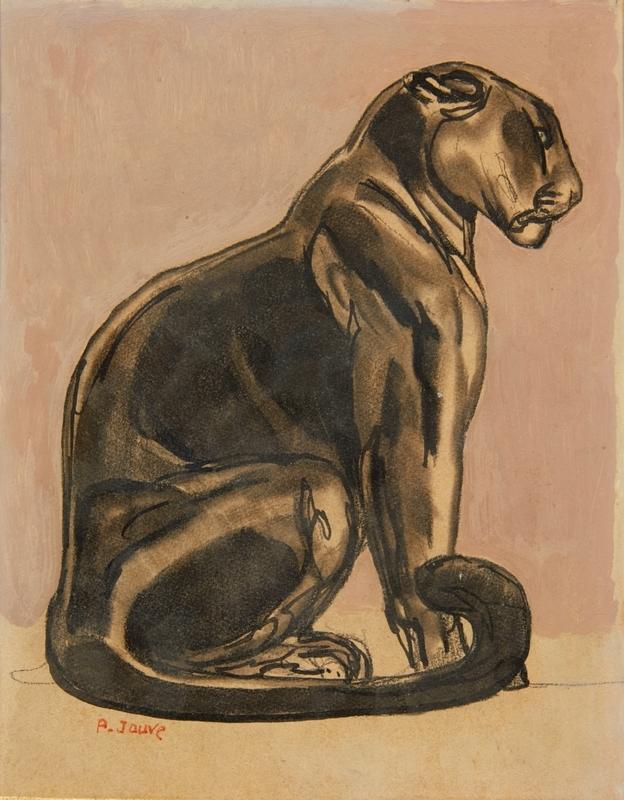 Paul JOUVE - Drawing-Watercolor - Panthère noire assise